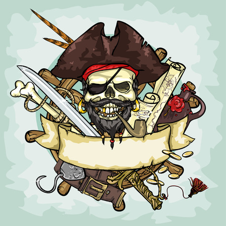 calavera pirata: Diseño del cráneo del pirata, ilustraciones con espacio para texto, aislado