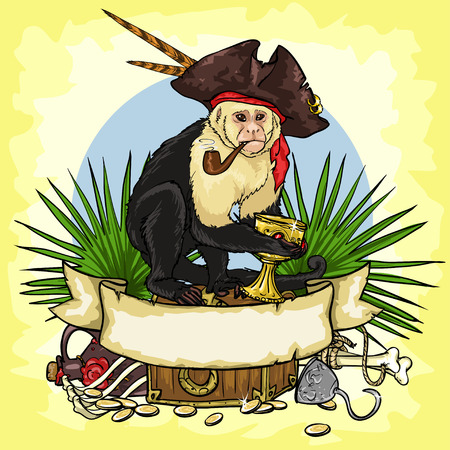 Pirates Treasure design, illustrations with space for text, isolated