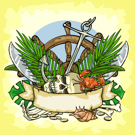 scroll wheel: Pirates Treasure design, illustrations with space for text, isolated