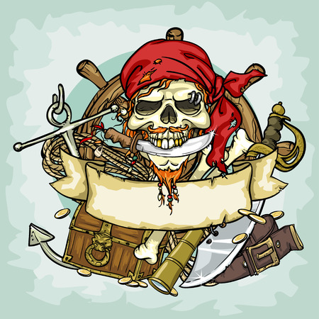 Pirate Skull design, illustrations with space for text, isolated Vettoriali