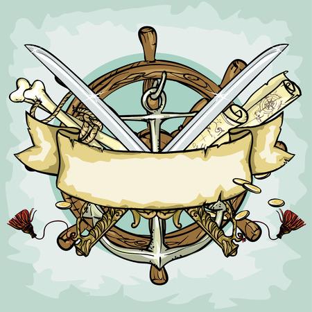 pirata: Diseño pirata, ilustraciones con espacio para texto, aislado