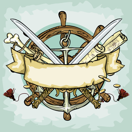 captain ship: Pirate design, illustrations with space for text, isolated