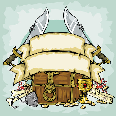 cofre del tesoro: Dise�o pirata, ilustraciones con espacio para texto, aislado