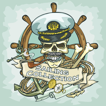 old boat: Captain skull design - Sailing Collection, Illustration with sample text