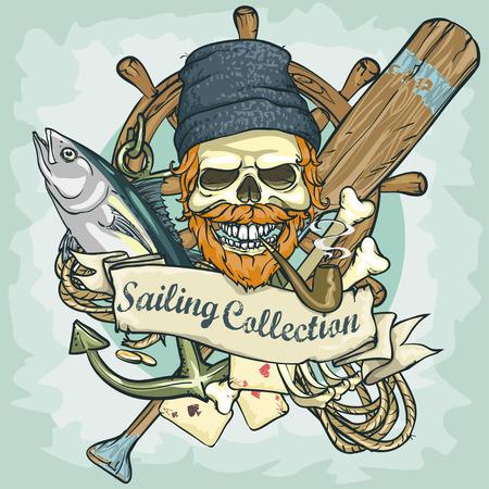 barca da pesca: Disegno del cranio Pescatore - Sailing Collection, illustrazione con testo di esempio