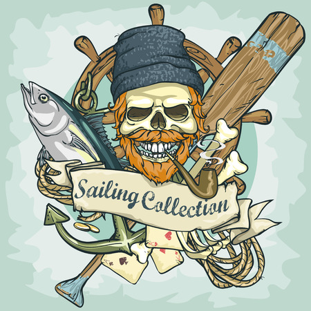 old boat: Fisherman skull design - Sailing Collection, Illustration with sample text