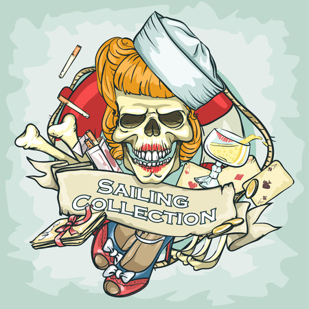 pin up: Pin Up Girl skull design - Sailing Collection, Illustration with sample text Illustration