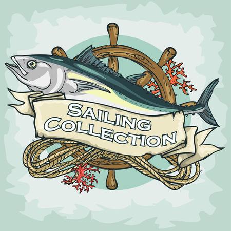 tuna fish: Nautical Label with sample text, Sailing Collection, Isolated