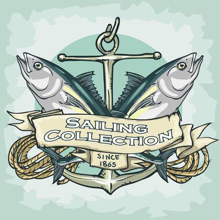 barca da pesca: Etichetta nautico con testo di esempio, Vela raccolta, isolato