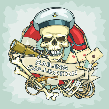 ship anchor: Sailor skull design - Sailing Collection, Illustration with sample text
