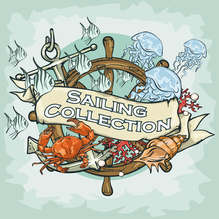 sea food: Nautical Label with sample text, Sailing Collection, Isolated