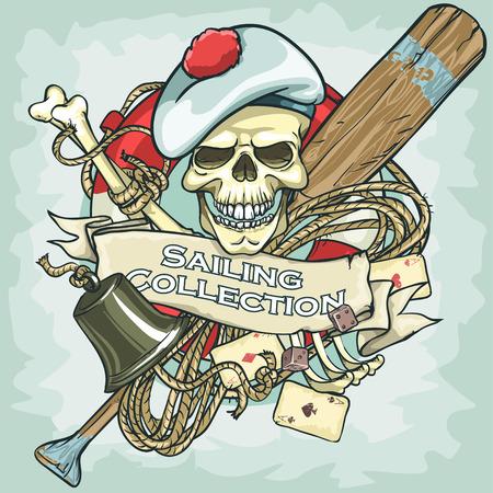 bateau de pêche: Conception de crâne Sailor - Voile Collection, Illustration avec le texte de l'échantillon