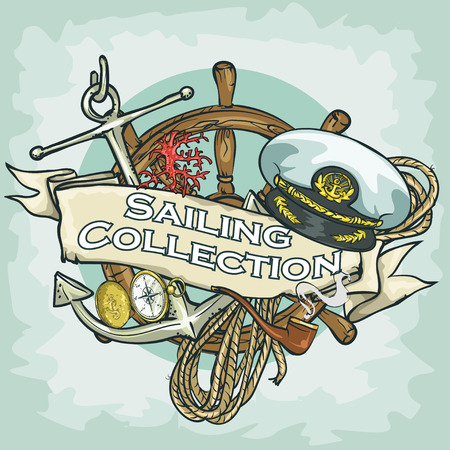 Nautical Label with sample text, Sailing Collection, Isolated