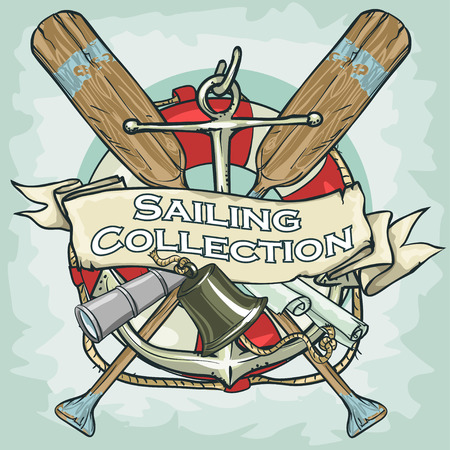 cruise cartoon: Nautical Label with sample text, Sailing Collection, Isolated