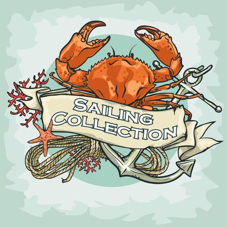 cangrejo caricatura: Etiqueta n�utica con texto de ejemplo, Vela Colecci�n, aislado