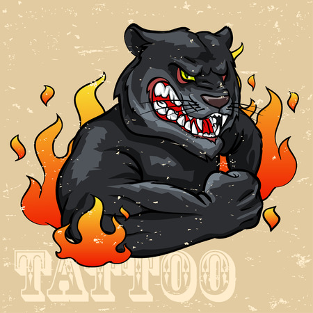 panther: Black Panther Tattoo Design, Grunge effect is removable. Illustration