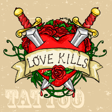 roses and blood: Heart Tattoo Design, Grunge effect is removable.