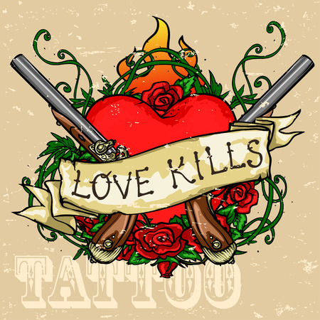 red love heart with flames: Heart Tattoo Design, Grunge effect is removable.