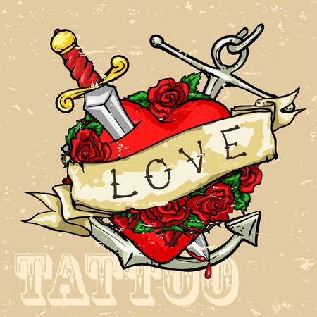 tatouage fleur: Conception Tattoo cardiaque, effet Grunge est amovible. Illustration
