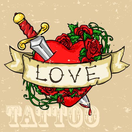 ハートのタトゥーのデザイン、グランジ、その効果は、取り外し可能です。