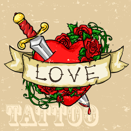 colorful heart: Heart Tattoo Design, Grunge effect is removable.