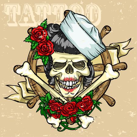 Skull Tattoo Design, Grunge effect is afneembaar.