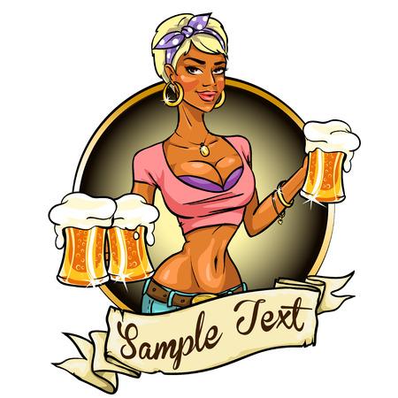 Muchacha bonita con la cerveza, diseño de la etiqueta con la bandera de la cinta y de la muestra taxt Foto de archivo - 42814458