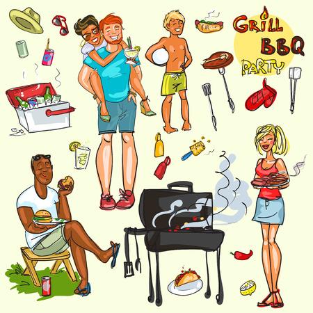 elote caricatura: Colecci�n de gente feliz en la fiesta de barbacoa Vectores