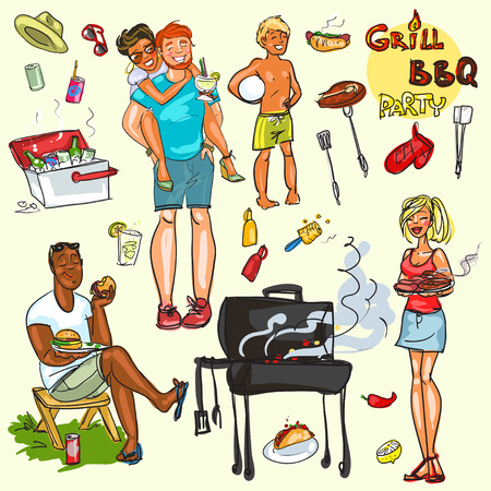 Collection of happy people at the BBQ party Illustration