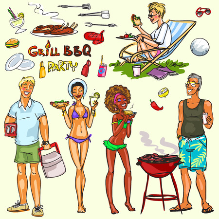Collection of happy people at the BBQ party Ilustração