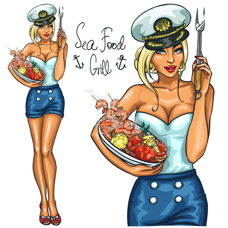 Pretty woman holding Seafood Plate, isolated on white Illustration