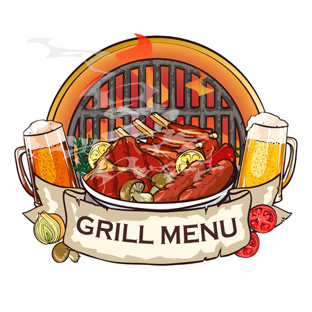 pork rib: BBQ Grill label design with ribbon banner and sample text.