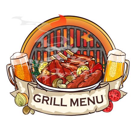 BBQ Grill label ontwerp met lint banner en voorbeeld tekst. Stock Illustratie