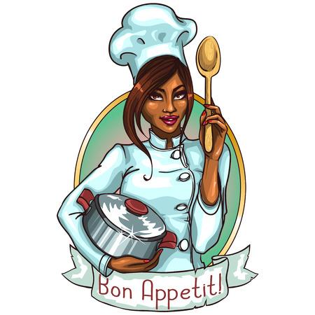Cocinero bonito con la olla y cuchara. Etiqueta con bandera de la cinta y el texto de la muestra Foto de archivo - 42858278
