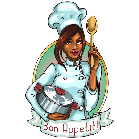 american cuisine: Pretty Chef with pot and spoon. Label with ribbon banner and sample text