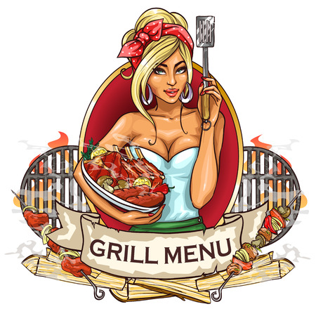 pork ribs: BBQ Grill Party label design with ribbon banner and sample text.