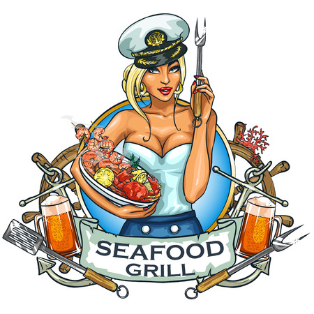 Seafood Grill label design with ribbon banner and sample text.