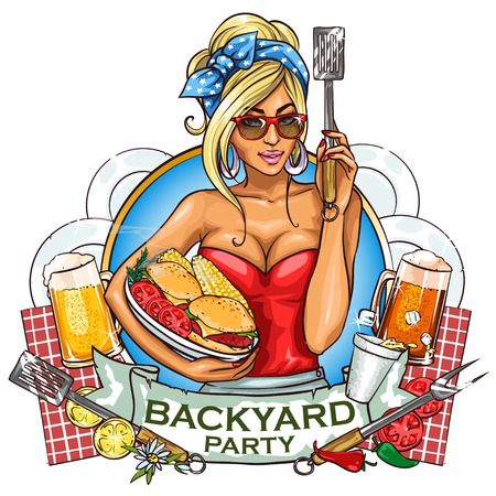 sexy girl cartoon: BBQ Grill Party label design with ribbon banner and sample text.