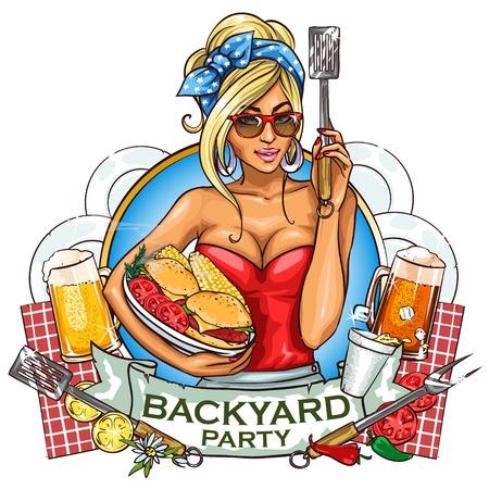 mujeres cocinando: Diseño de la etiqueta BBQ Party Grill con bandera de la cinta y el texto de la muestra.