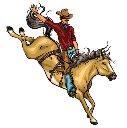 Rodeo Cowboy riding a horse isolated on white