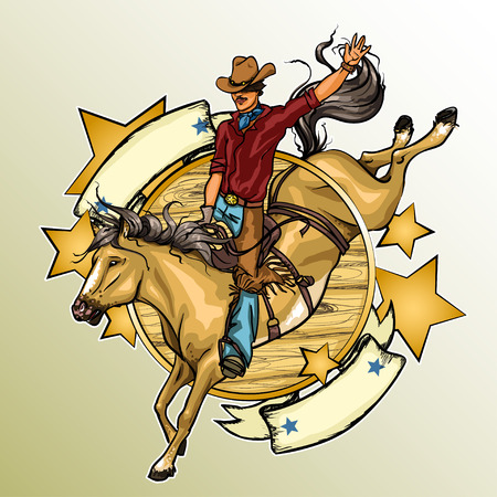 Rodeo Cowboy riding a horse, Label with ribbonn banner Vettoriali
