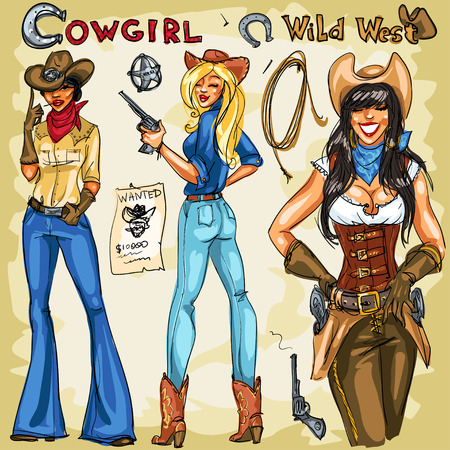 west: Cowgirls hand drawn collection.  Clip art Isolated Illustration