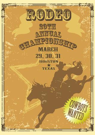 vaquero: Rodeo Vaquero que monta un caballo aislado. Cartel con texto de ejemplo.