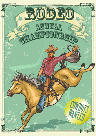 rodeo cowboy: Rodeo Cowboy riding a horse isolated. Poster with sample text.