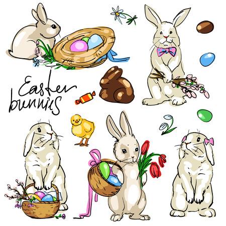 egg cartoon: Colecci�n Los conejos de Pascua. Mano vector dibujado