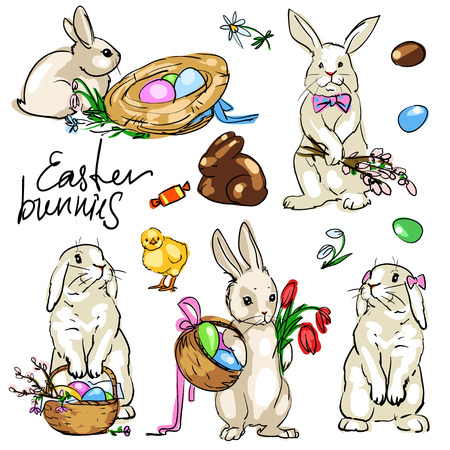 cartoon easter basket: Easter Bunnies Collection. Hand drawn vector illustration Illustration