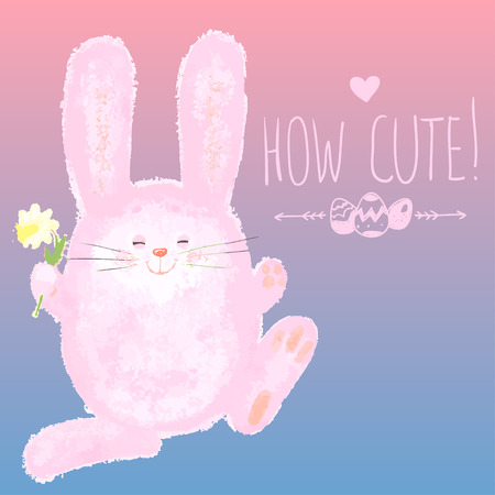 hand writing: Greeting card with Cute Bunny and Hand writing, Happy Easter card