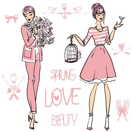 fashionable: Beautiful women, set of hand drawn vector illustration Illustration
