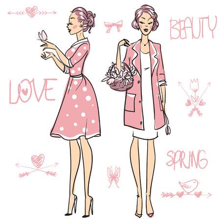 Belles femmes, jeu de main, dessiné, illustration vectorielle Banque d'images - 42871356