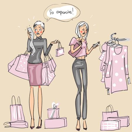 no heels: Women at shopping mall, hand drawn illustrations